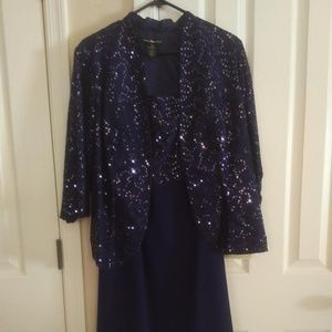 Elegant Navy Blue Sequin Dress with Jacket